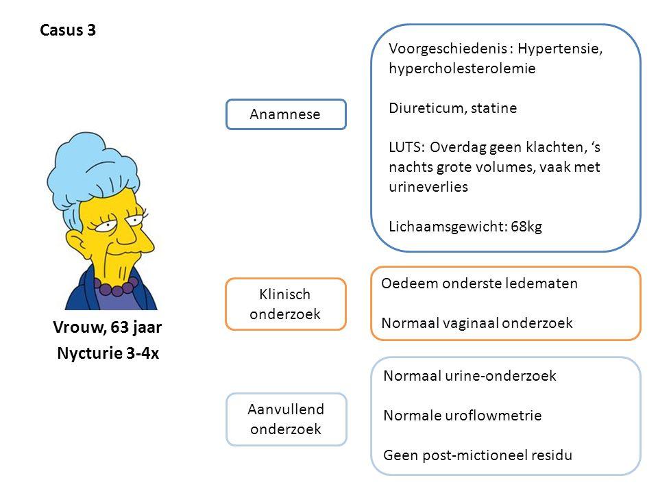 Casus 3 Anamnese Voorgeschiedenis : Hypertensie, hypercholesterolemie Diureticum, statine LUTS: Overdag geen klachten, 's nachts grote volumes, vaak m