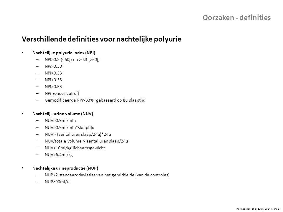 Hofmeester I et al; BJUI., 2014 Mar 31 Oorzaken - definities Verschillende definities voor nachtelijke polyurie Nachtelijke polyurie index (NPi) – NPi