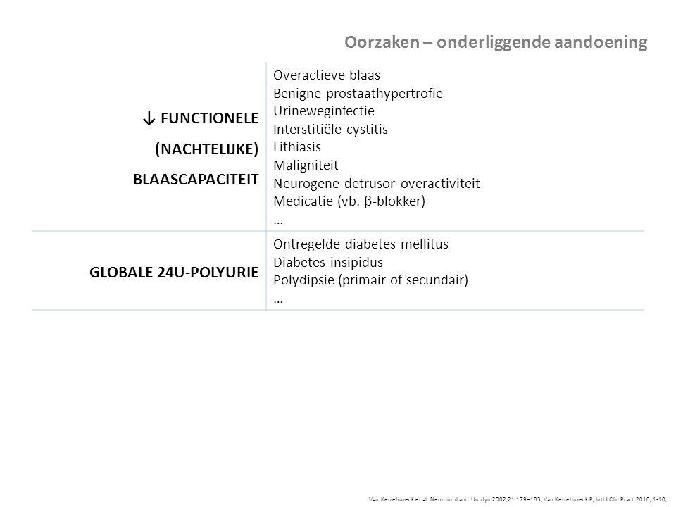 Van Kerrebroeck et al. Neurourol and Urodyn 2002;21:179–183; Van Kerrebroeck P, Intl J Clin Pract 2010, 1-10; ↓ FUNCTIONELE (NACHTELIJKE) BLAASCAPACIT