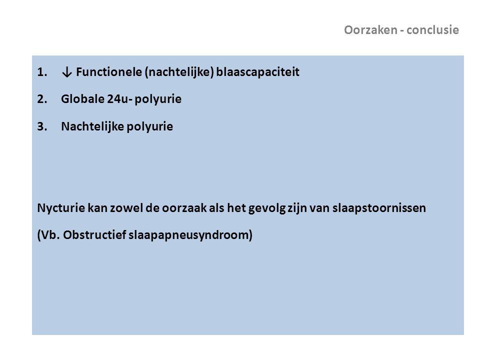 Oorzaken - conclusie 1.↓ Functionele (nachtelijke) blaascapaciteit 2.Globale 24u- polyurie 3.Nachtelijke polyurie Nycturie kan zowel de oorzaak als he