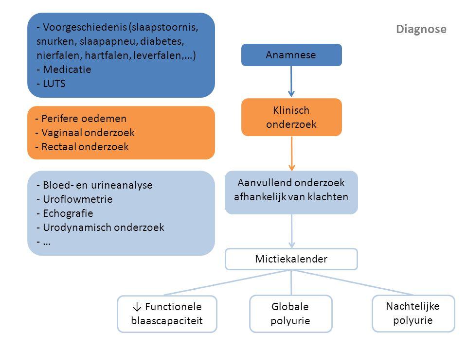 Diagnose Mictiekalender Globale polyurie Nachtelijke polyurie ↓ Functionele blaascapaciteit Anamnese - Voorgeschiedenis (slaapstoornis, snurken, slaap