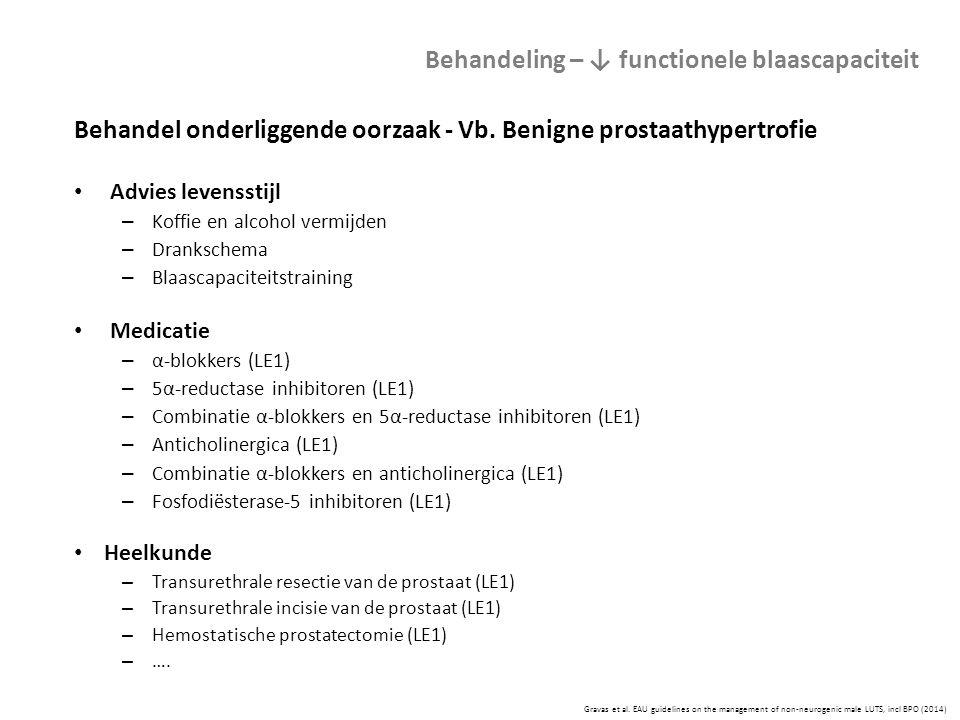 Gravas et al. EAU guidelines on the management of non-neurogenic male LUTS, incl BPO (2014) Behandeling – ↓ functionele blaascapaciteit Behandel onder