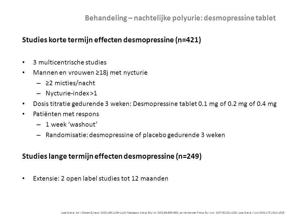 Lose G et al. Am J Obstet Gynecol. 2003;189:1106–1113; Mattiasson A et al. BJU Int. 2002;89:855–862; van Kerrebroek P et al. Eur Urol. 2007;52:221–229