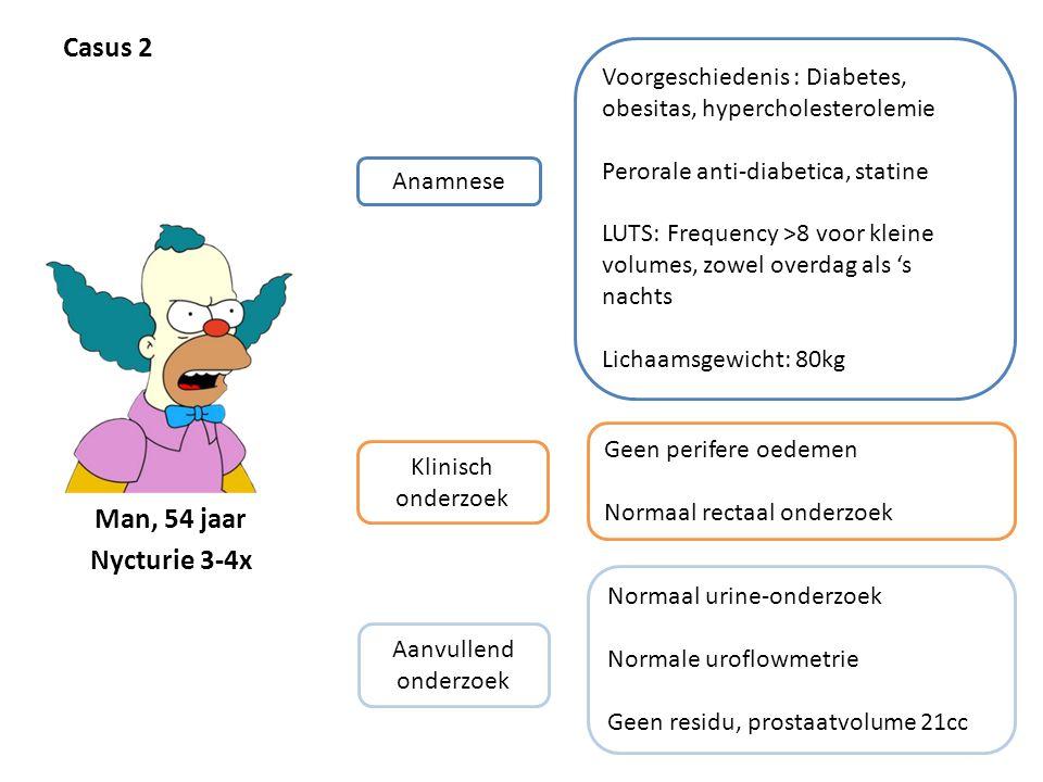 Casus 2 Anamnese Voorgeschiedenis : Diabetes, obesitas, hypercholesterolemie Perorale anti-diabetica, statine LUTS: Frequency >8 voor kleine volumes,