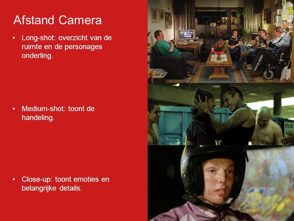 Long-shot: overzicht van de ruimte en de personages onderling. Medium-shot: toont de handeling. Close-up: toont emoties en belangrijke details. Afstan
