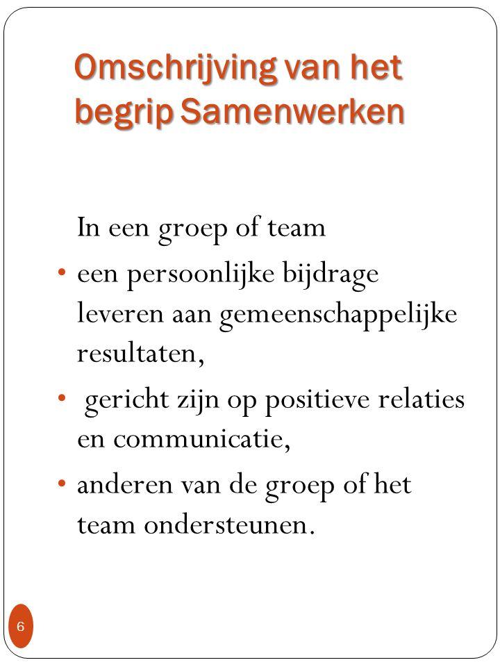 Omschrijving van het begrip Samenwerken 6 In een groep of team een persoonlijke bijdrage leveren aan gemeenschappelijke resultaten, gericht zijn op po