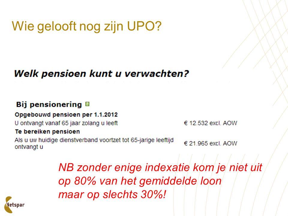 Wie gelooft nog zijn UPO? NB zonder enige indexatie kom je niet uit op 80% van het gemiddelde loon maar op slechts 30%!