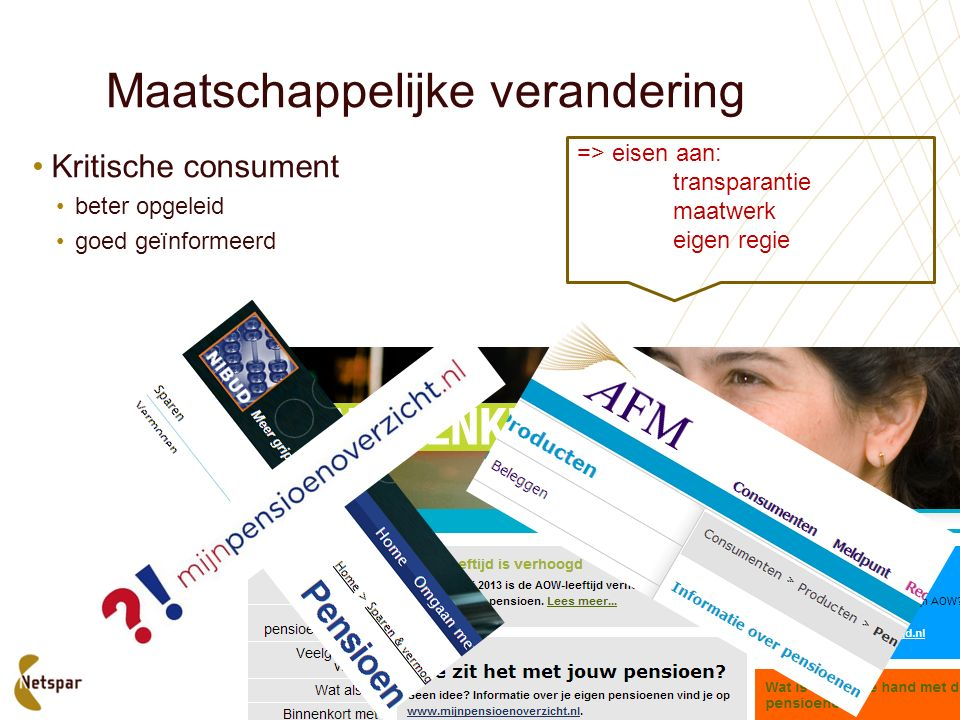 Maatschappelijke verandering Kritische consument beter opgeleid goed geïnformeerd => eisen aan: transparantie maatwerk eigen regie