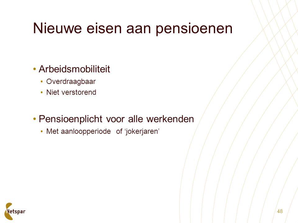 Nieuwe eisen aan pensioenen Arbeidsmobiliteit Overdraagbaar Niet verstorend Pensioenplicht voor alle werkenden Met aanloopperiode of 'jokerjaren' 48