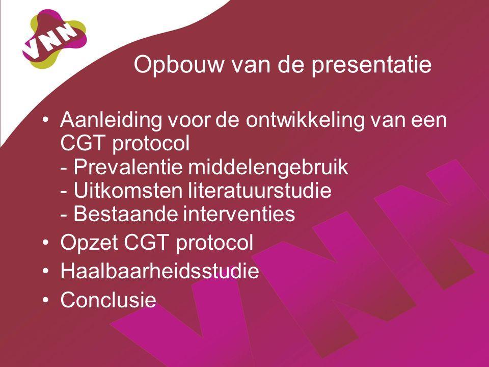 Opbouw van de presentatie Aanleiding voor de ontwikkeling van een CGT protocol - Prevalentie middelengebruik - Uitkomsten literatuurstudie - Bestaande