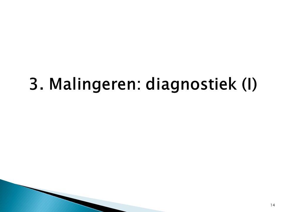 3. Malingeren: diagnostiek (I) 14
