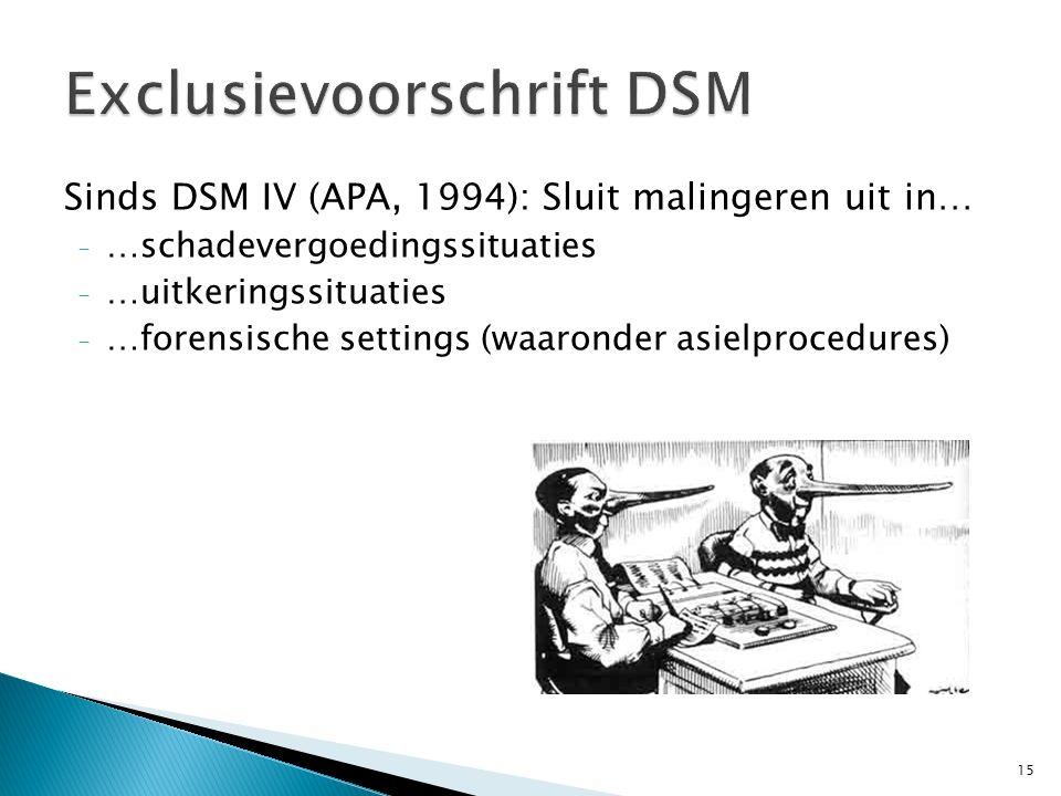 Sinds DSM IV (APA, 1994): Sluit malingeren uit in… - …schadevergoedingssituaties - …uitkeringssituaties - …forensische settings (waaronder asielproced