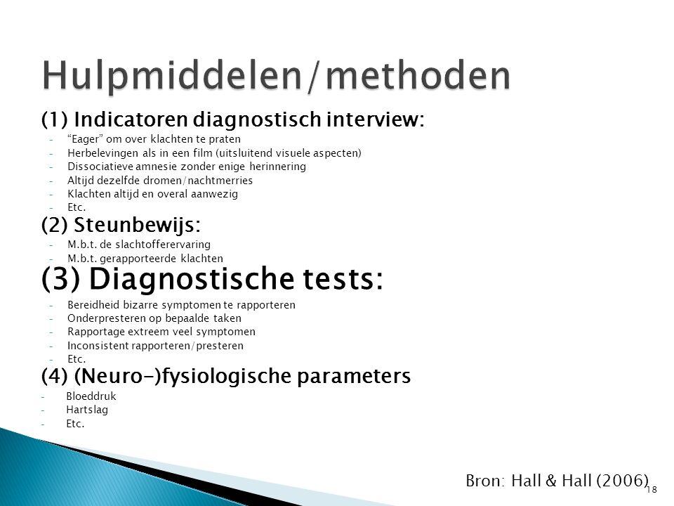 """Hulpmiddelen/methoden (1) Indicatoren diagnostisch interview: - """"Eager"""" om over klachten te praten - Herbelevingen als in een film (uitsluitend visuel"""