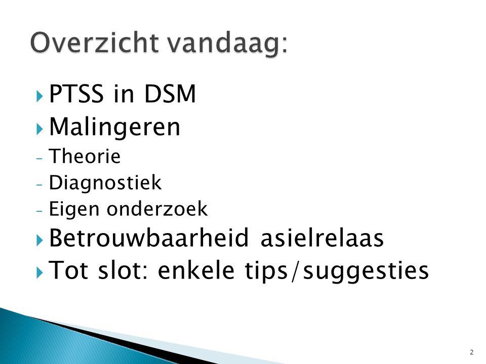  PTSS in DSM  Malingeren - Theorie - Diagnostiek - Eigen onderzoek  Betrouwbaarheid asielrelaas  Tot slot: enkele tips/suggesties 2