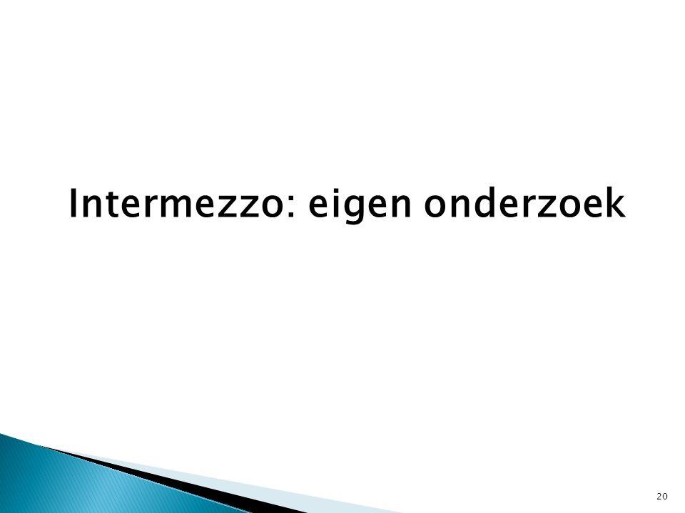 Intermezzo: eigen onderzoek 20