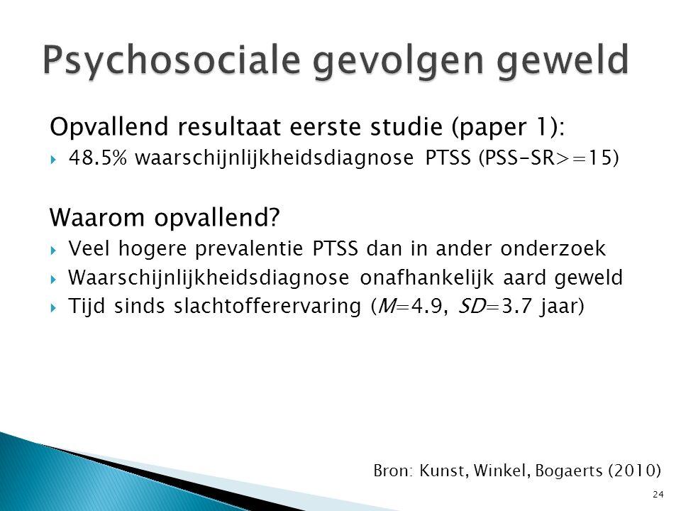 Opvallend resultaat eerste studie (paper 1):  48.5% waarschijnlijkheidsdiagnose PTSS (PSS-SR>=15) Waarom opvallend?  Veel hogere prevalentie PTSS da