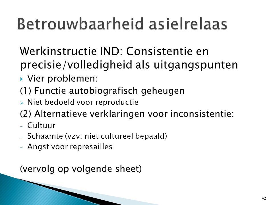 Werkinstructie IND: Consistentie en precisie/volledigheid als uitgangspunten  Vier problemen: (1) Functie autobiografisch geheugen  Niet bedoeld voo