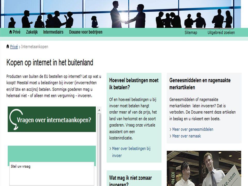 Sheet site douane particulieren, website, print screen van site….. 10 oktober 201513