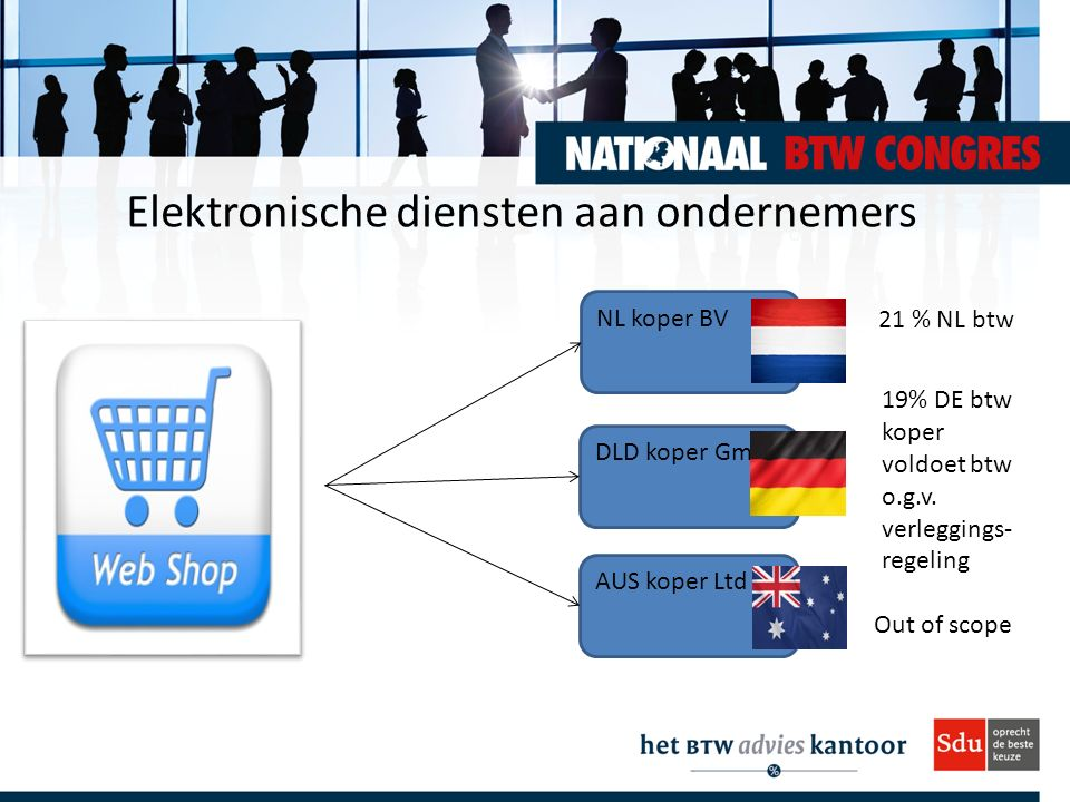 Elektronische diensten aan ondernemers NL koper BV AUS koper Ltd DLD koper GmbH 21 % NL btw 19% DE btw koper voldoet btw o.g.v. verleggings- regeling