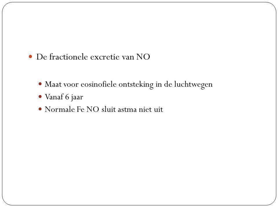 De fractionele excretie van NO Maat voor eosinofiele ontsteking in de luchtwegen Vanaf 6 jaar Normale Fe NO sluit astma niet uit