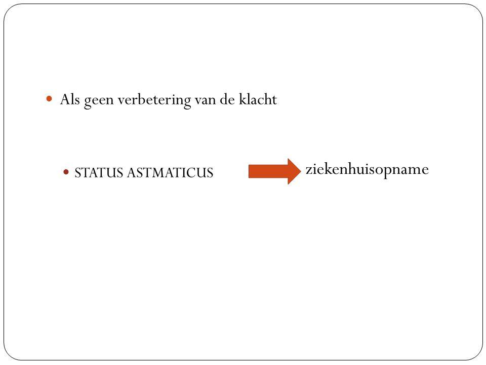 Als geen verbetering van de klacht STATUS ASTMATICUS ziekenhuisopname