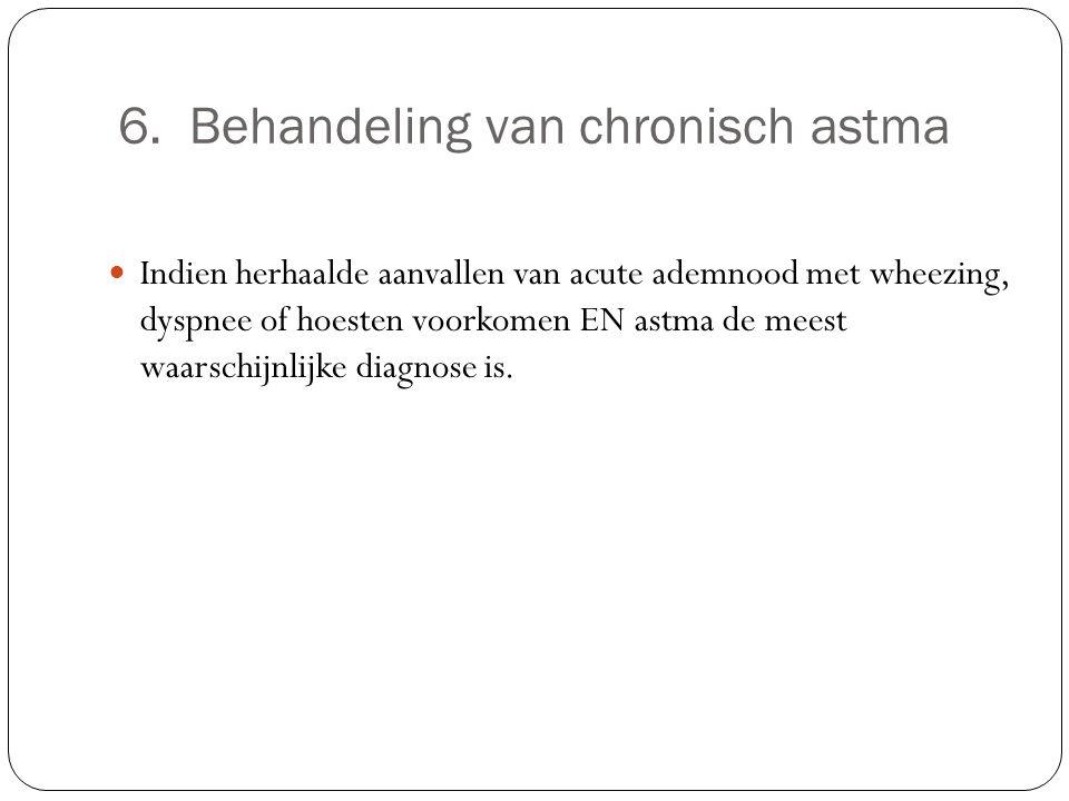6. Behandeling van chronisch astma Indien herhaalde aanvallen van acute ademnood met wheezing, dyspnee of hoesten voorkomen EN astma de meest waarschi
