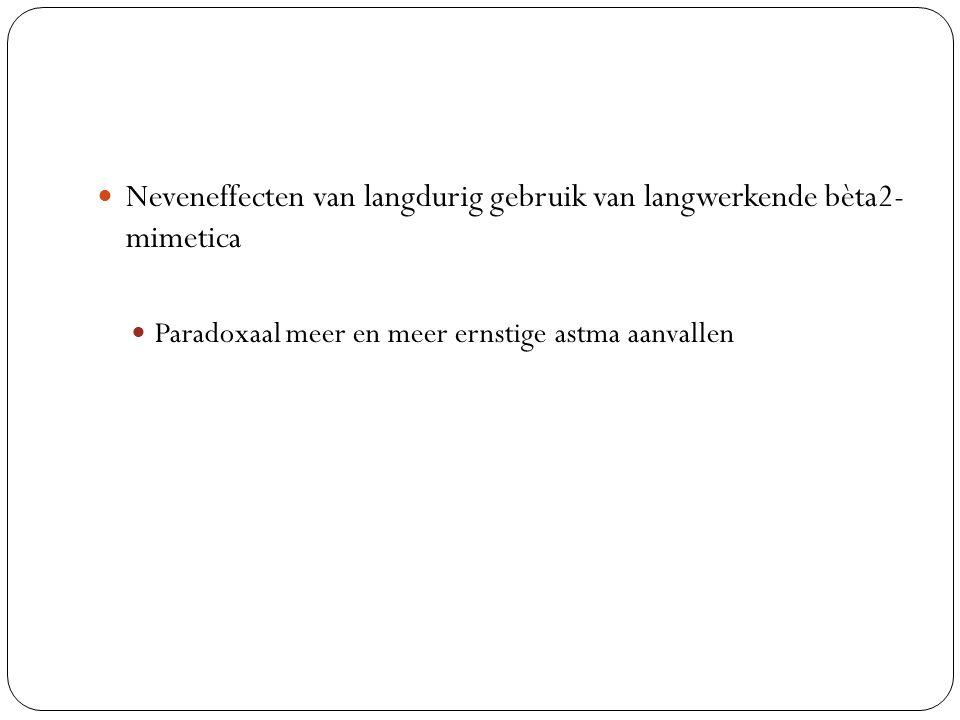 Neveneffecten van langdurig gebruik van langwerkende bèta2- mimetica Paradoxaal meer en meer ernstige astma aanvallen