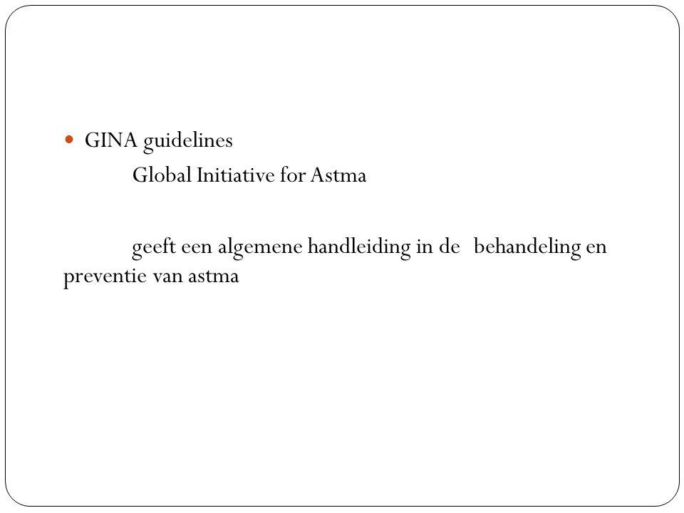 GINA guidelines Global Initiative for Astma geeft een algemene handleiding in de behandeling en preventie van astma