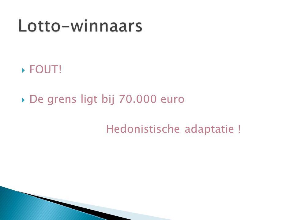  FOUT!  De grens ligt bij 70.000 euro Hedonistische adaptatie !