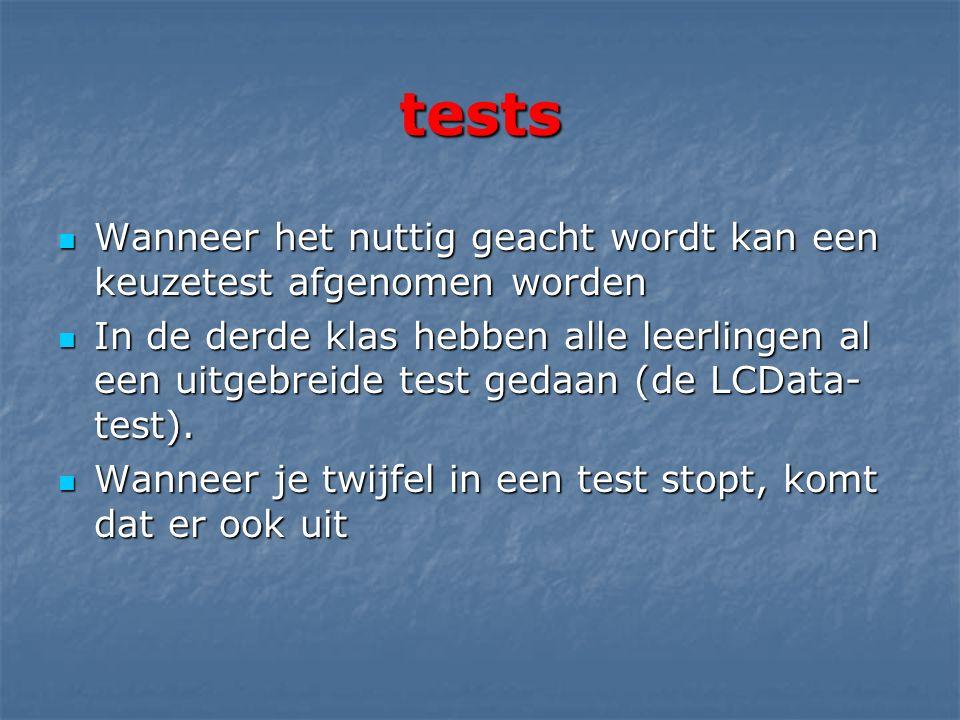 tests Wanneer het nuttig geacht wordt kan een keuzetest afgenomen worden Wanneer het nuttig geacht wordt kan een keuzetest afgenomen worden In de derde klas hebben alle leerlingen al een uitgebreide test gedaan (de LCData- test).