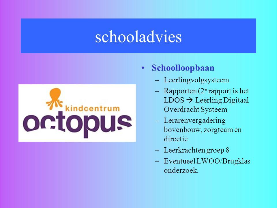 schooladvies Schoolloopbaan –Leerlingvolgsysteem –Rapporten (2 e rapport is het LDOS  Leerling Digitaal Overdracht Systeem –Lerarenvergadering bovenb