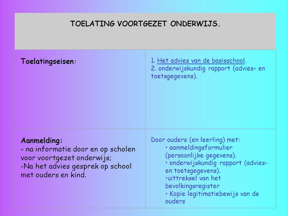 TOELATING VOORTGEZET ONDERWIJS. Toelatingseisen : 1. Het advies van de basisschool. 2. onderwijskundig rapport (advies- en toetsgegevens). Aanmelding: