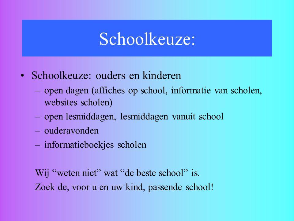 Schoolkeuze: ouders en kinderen –open dagen (affiches op school, informatie van scholen, websites scholen) –open lesmiddagen, lesmiddagen vanuit schoo
