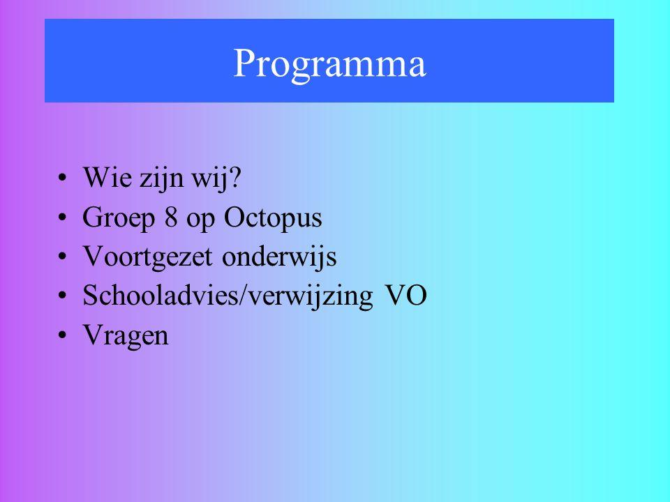 Programma Wie zijn wij? Groep 8 op Octopus Voortgezet onderwijs Schooladvies/verwijzing VO Vragen