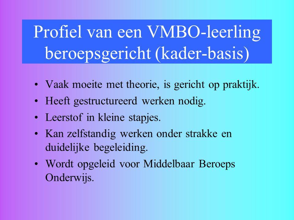 Profiel van een VMBO-leerling beroepsgericht (kader-basis) Vaak moeite met theorie, is gericht op praktijk. Heeft gestructureerd werken nodig. Leersto