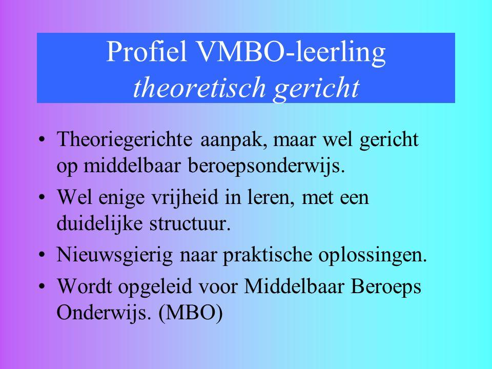 Profiel VMBO-leerling theoretisch gericht Theoriegerichte aanpak, maar wel gericht op middelbaar beroepsonderwijs. Wel enige vrijheid in leren, met ee