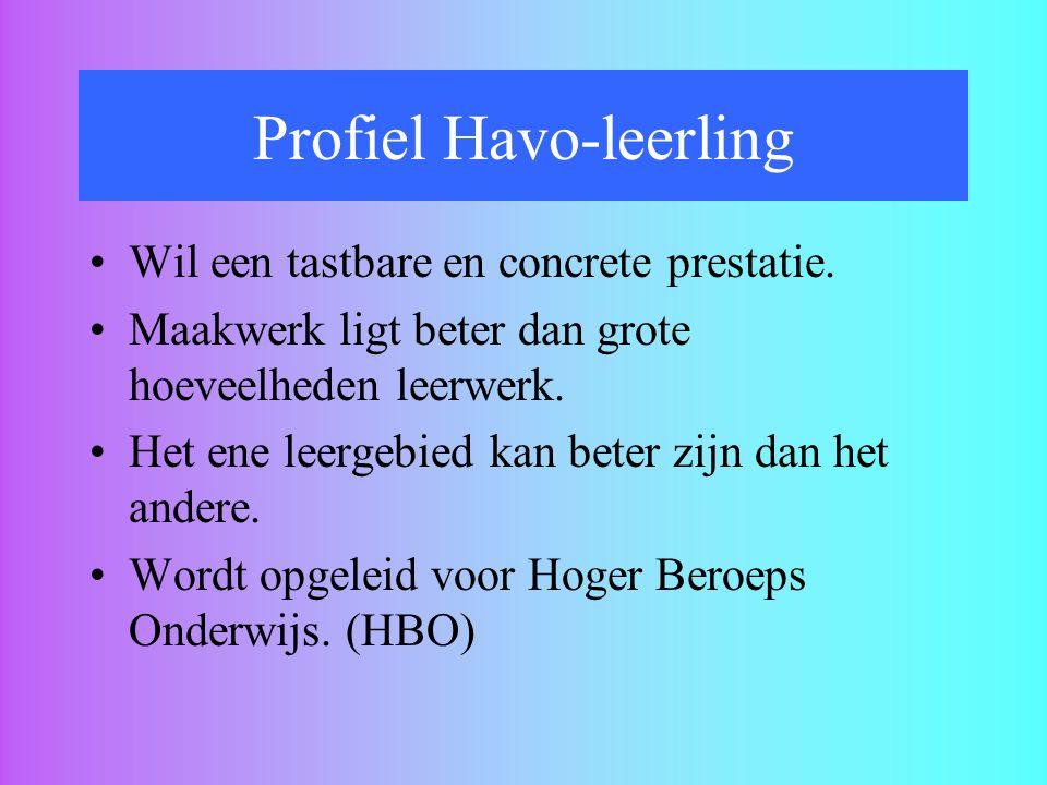 Profiel Havo-leerling Wil een tastbare en concrete prestatie. Maakwerk ligt beter dan grote hoeveelheden leerwerk. Het ene leergebied kan beter zijn d