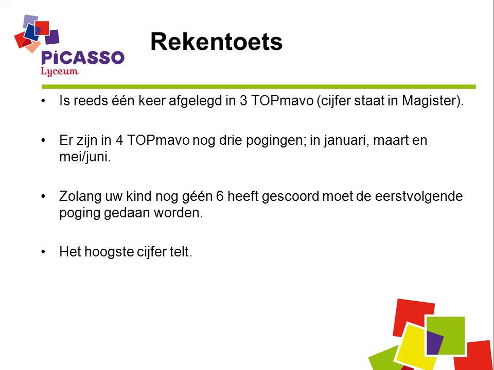 Rekentoets Is reeds één keer afgelegd in 3 TOPmavo (cijfer staat in Magister).