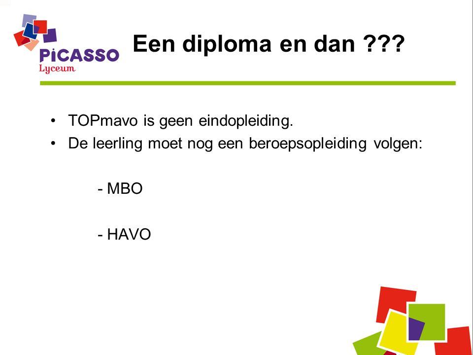 Een diploma en dan . TOPmavo is geen eindopleiding.