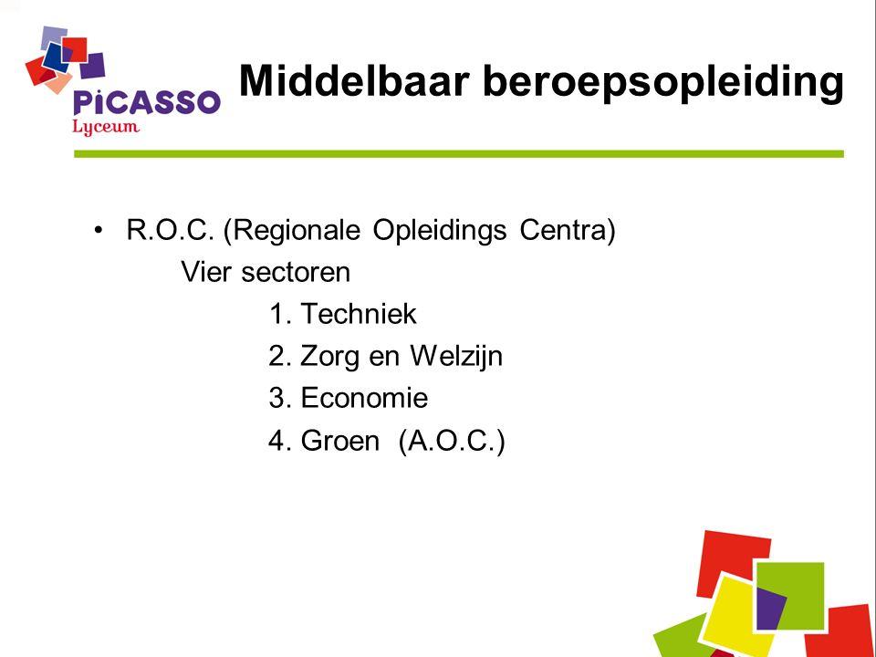 Middelbaar beroepsopleiding R.O.C. (Regionale Opleidings Centra) Vier sectoren 1.