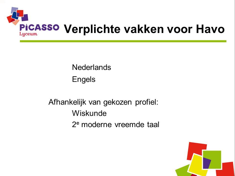 Verplichte vakken voor Havo Nederlands Engels Afhankelijk van gekozen profiel: Wiskunde 2 e moderne vreemde taal