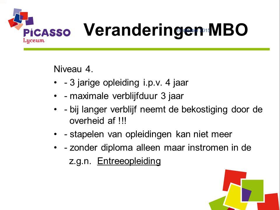 Veranderingen MBO Niveau 4. - 3 jarige opleiding i.p.v.