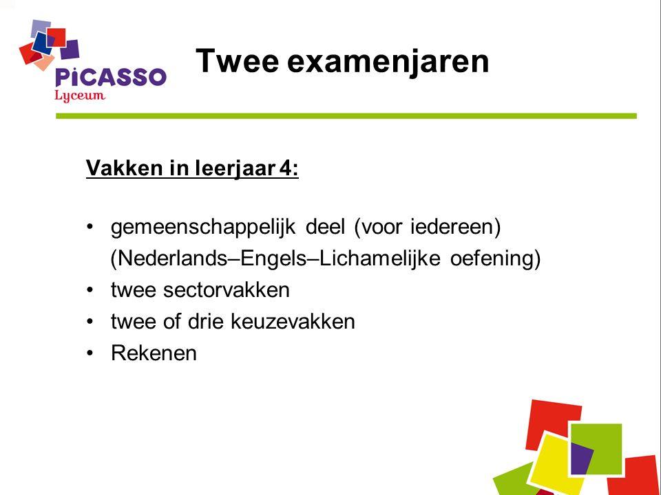 Twee examenjaren Vakken in leerjaar 4: gemeenschappelijk deel (voor iedereen) (Nederlands–Engels–Lichamelijke oefening) twee sectorvakken twee of drie keuzevakken Rekenen