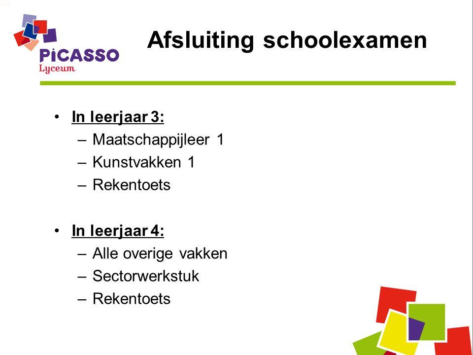 Afsluiting schoolexamen In leerjaar 3: –Maatschappijleer 1 –Kunstvakken 1 –Rekentoets In leerjaar 4: –Alle overige vakken –Sectorwerkstuk –Rekentoets