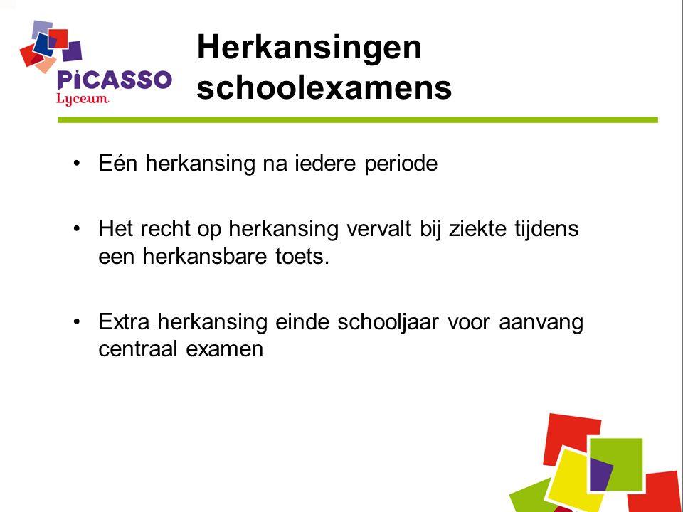 Herkansingen schoolexamens Eén herkansing na iedere periode Het recht op herkansing vervalt bij ziekte tijdens een herkansbare toets.