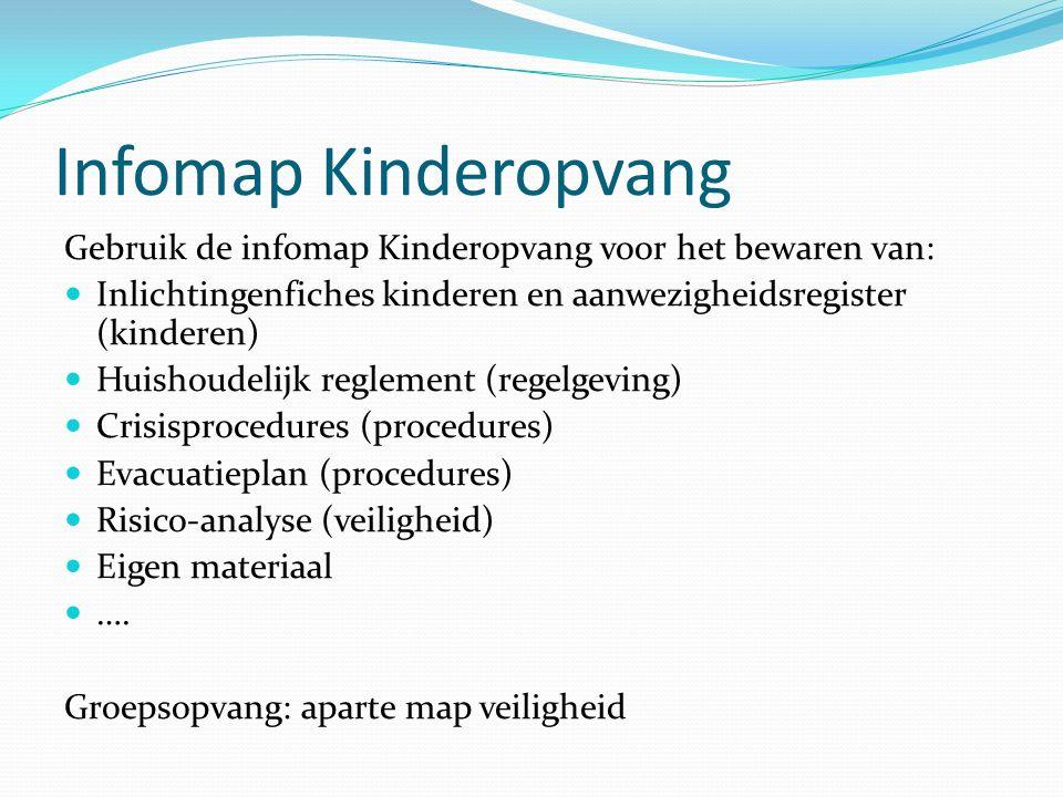 Infomap Kinderopvang Gebruik de infomap Kinderopvang voor het bewaren van: Inlichtingenfiches kinderen en aanwezigheidsregister (kinderen) Huishoudeli