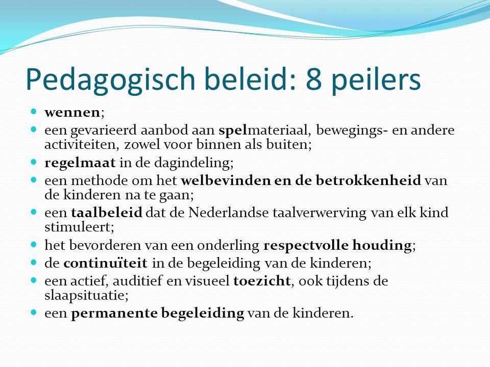 Pedagogisch beleid: 8 peilers wennen; een gevarieerd aanbod aan spelmateriaal, bewegings- en andere activiteiten, zowel voor binnen als buiten; regelm
