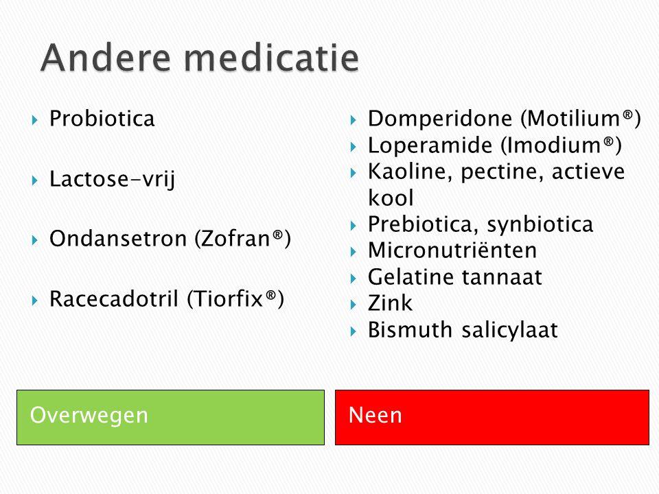 OverwegenNeen  Probiotica  Lactose-vrij  Ondansetron (Zofran®)  Racecadotril (Tiorfix®)  Domperidone (Motilium®)  Loperamide (Imodium®)  Kaolin