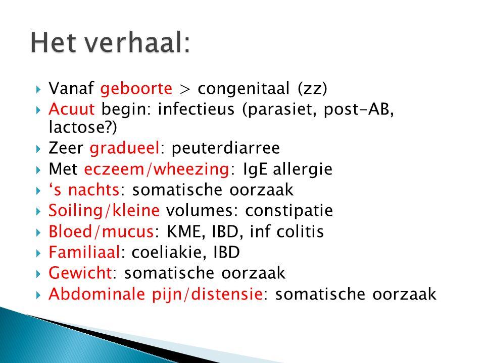  Vanaf geboorte > congenitaal (zz)  Acuut begin: infectieus (parasiet, post-AB, lactose?)  Zeer gradueel: peuterdiarree  Met eczeem/wheezing: IgE