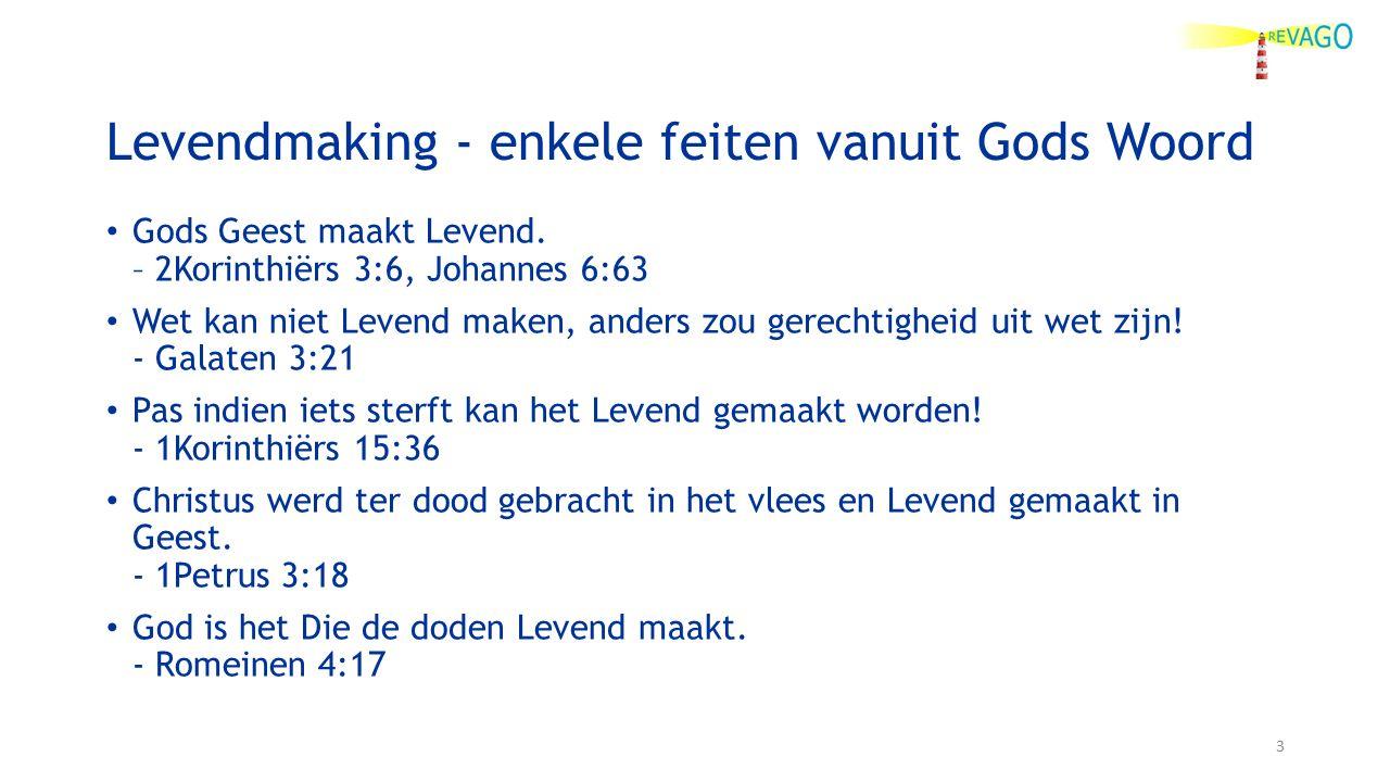 Levendmaking - enkele feiten vanuit Gods Woord Gods Geest maakt Levend.